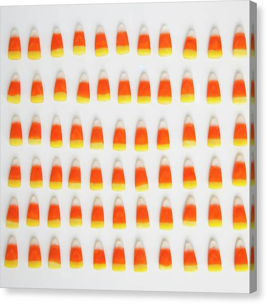 Studio Shot Of Rows Of Candy Corn Canvas Print by Jessica Peterson