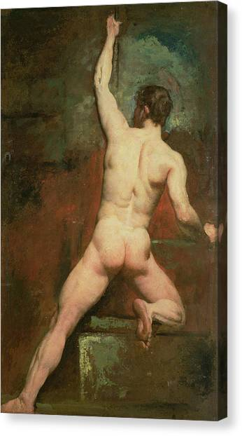 Arms Outstretched Canvas Print - Study For A Male Nude by William Etty