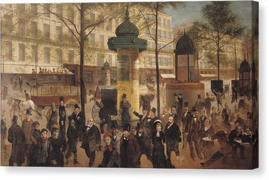 Parisian Canvas Print - Study For A Panorama Of The Boulevard De Montmartre, 1877 Oil On Canvas by Andre Gill