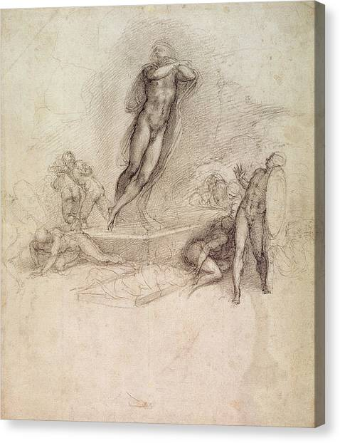 Michelangelo Canvas Print - Study For An Ascension by Michelangelo Buonarroti