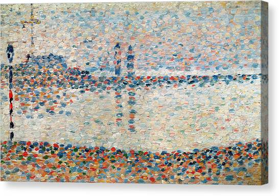 Post-impressionism Canvas Print - Study For The Channel At Gravelines Evening by Georges Pierre Seurat