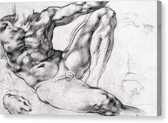 Old Testament Canvas Print - Study For The Creation Of Adam by Michelangelo
