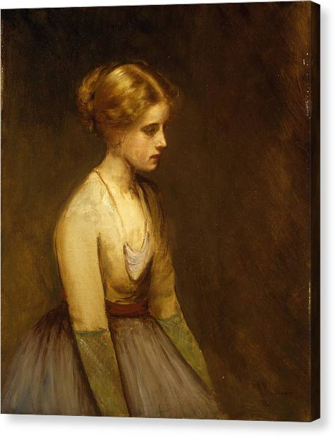Full Skirt Canvas Print - Study Of A Fair Haired Beauty  by Jean Jacques Henner