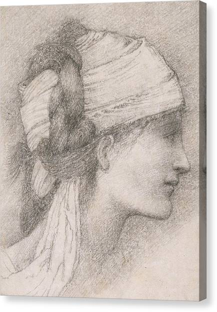Fabric Canvas Print - Study Of A Female Head To The Right by Sir Edward Coley Burne-Jones