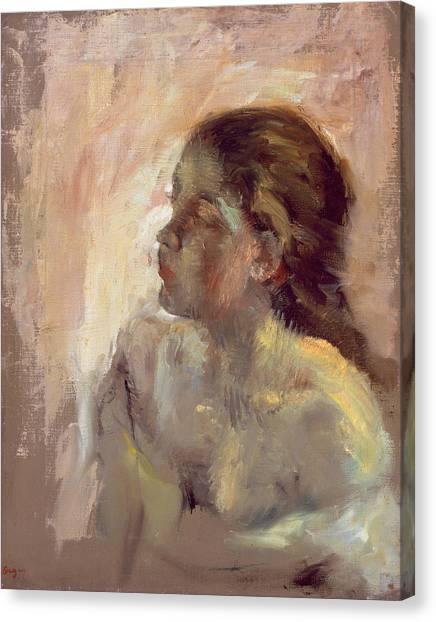 Edgar Degas Canvas Print - Study Of A Girls Head, Late 1870s by Edgar Degas