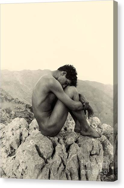 Neoclassical Art Canvas Print - Study Of A Male Nude On A Rock In Taormina Sicily by Wilhelm von Gloeden