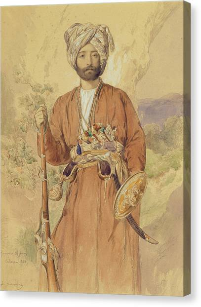 Iranian Canvas Print - Study Of An Afghan Warrior, Tehran, 1848 by Jules Joseph Augustin Laurens