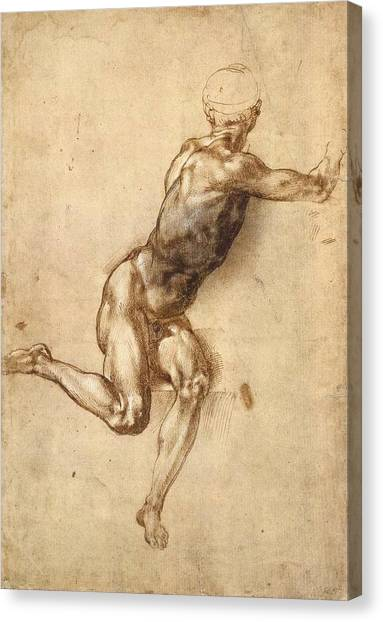 Michelangelo Simoni Canvas Print - Study Of Figure To Battle Of Cascina by Michelangelo Buonarroti