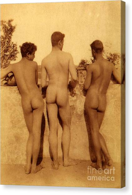 Neoclassical Art Canvas Print - Study Of Three Male Nudes by Wilhelm von Gloeden