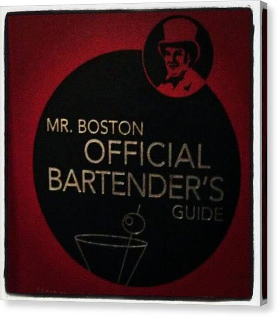 Bartender Canvas Print - Mr. Boston by Marycruz Figueroa