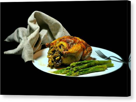Stuffing Canvas Print - Stuffed Cornish Hen by Diana Angstadt