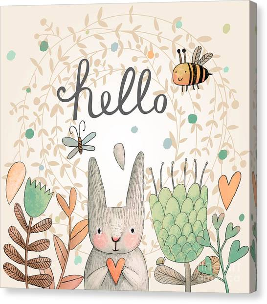 Symbols Canvas Print - Stunning Card With Cute Rabbit by Smilewithjul