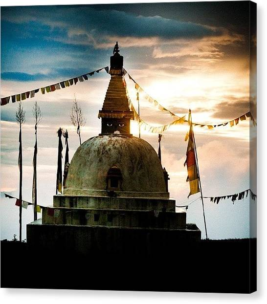 Sunrise Horizon Canvas Print - Stupa Himalayas by Raimond Klavins