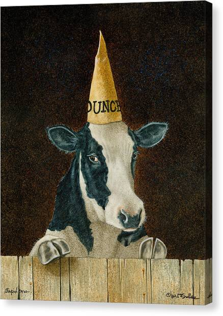 Stupid Cow... Canvas Print