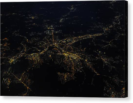 Stuttgart From The Air At Night Canvas Print by (c) Florian Leist