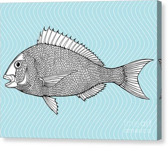 Ingredient Canvas Print - Stylized Fish. Sea Fish. Dorado. Black by In Art