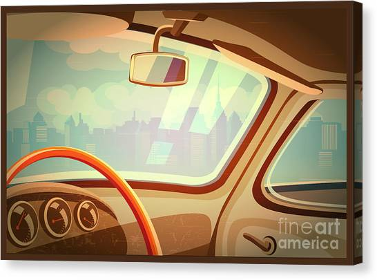 Automobile Canvas Print - Stylized Retro Interior Vector by Andrii Stepaniuk