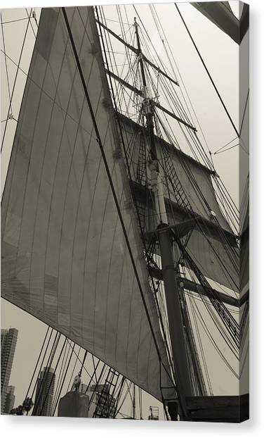 Suare And Triangle Black And White Sepia Canvas Print