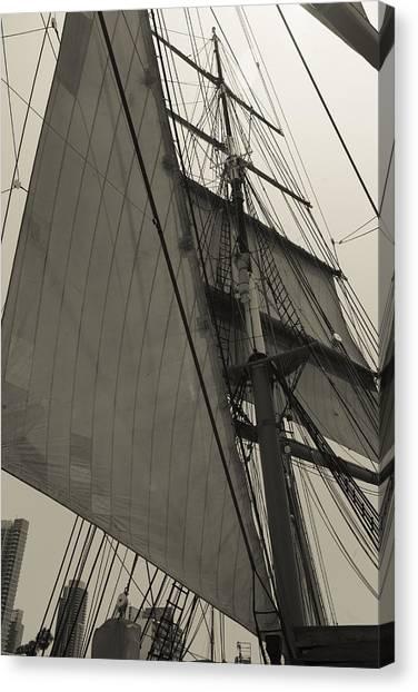 Suare And Triangle Black And White Sepia Canvas Print