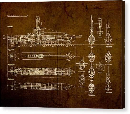 Distressed Canvas Print - Submarine Blueprint Vintage On Distressed Worn Parchment by Design Turnpike