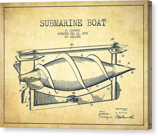 Submarine Canvas Print - Submarine Boat Patent From 1898 - Vintage by Aged Pixel