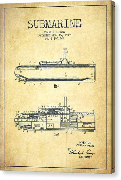 Submarine Canvas Print - Submarine Patent From 1919 - Vintage by Aged Pixel