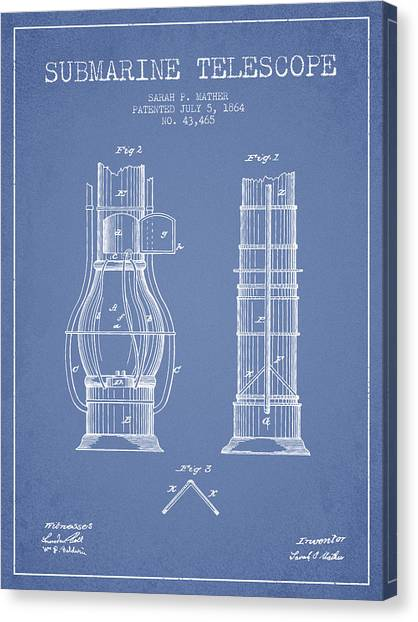 Submarine Canvas Print - Submarine Telescope Patent From 1864 - Light Blue by Aged Pixel