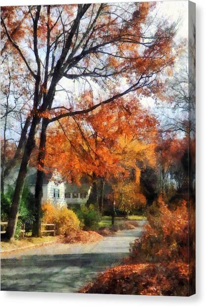 Suburban Street In Autumn Canvas Print by Susan Savad