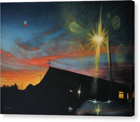 Suburban Sunset Oil On Canvas Canvas Print