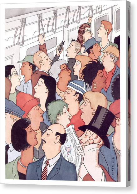 Subway Riders All Resemble Eustace Tilley Canvas Print