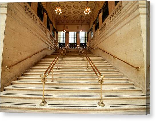 Subway Station Staircase,chicago Canvas Print