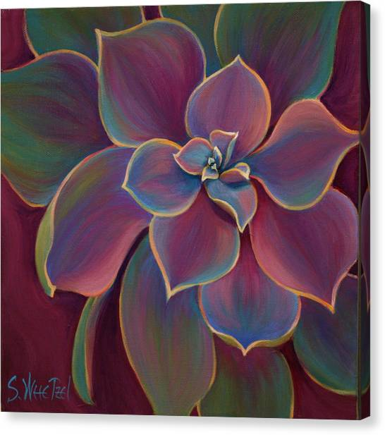 Canvas Print featuring the painting Succulent Delicacy by Sandi Whetzel