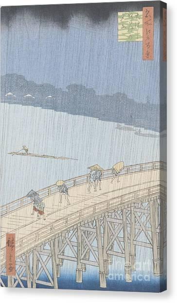 Japanese Umbrella Canvas Print - Sudden Shower On Ohashi Bridge At Ataka by Ando Hiroshige