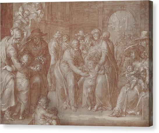 Baroque Canvas Print - Suffer The Little Children To Come Unto Me by Joachim Wtewael or Utewael