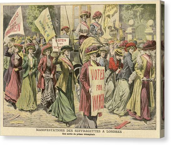 Womens Rights Canvas Print - Suffragettes Celebrate The Release by Mary Evans Picture Library