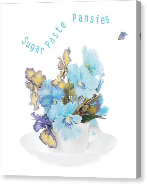 Saucer Canvas Print - Sugar Paste Pansies by Amanda Elwell