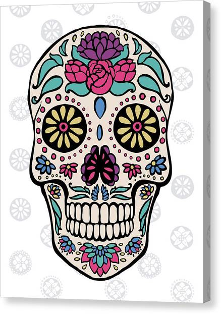 Skulls Canvas Print - Sugar Skull IIi On Gray by Janelle Penner