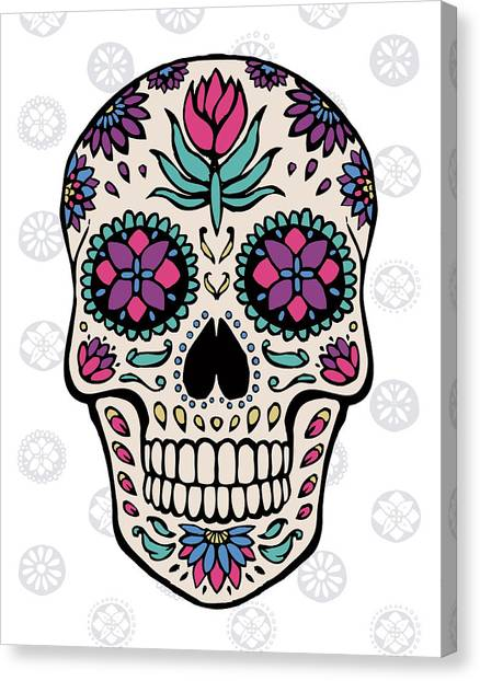 Skulls Canvas Print - Sugar Skull Iv On Gray by Janelle Penner
