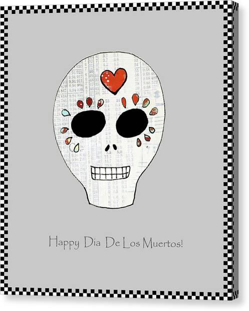 Dia Del Muerto Canvas Print - Sugar Skull by Sarah Ogren