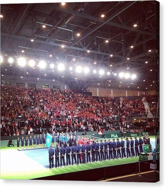 Hops Canvas Print - Suisse - Kazhakstan 1/4 Final #tennis by Kareem Nour