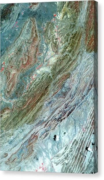 Satellite Canvas Print - Sulaiman Folds by Nasa/gsfc/meti/ersdac/jaros And U.s./japan Aster Science Team