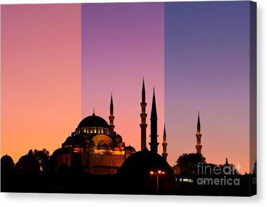 Suleymaniye Canvas Print - Suleymaniye Sundown Triptych 05 by Rick Piper Photography