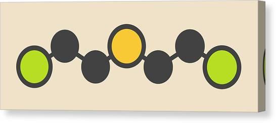 Mustard Canvas Print - Sulfur Mustard Molecule by Molekuul