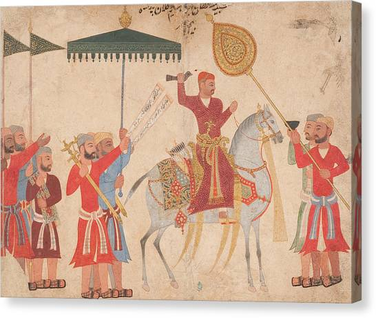 Rulers Canvas Print - Sultan Hussain Nizam Shah I Of Ahmadnagar On Horseback by Indian School