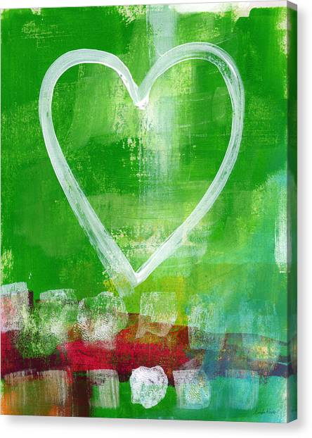 Abstract Designs Canvas Print - Sumer Love- Abstract Heart Painting by Linda Woods