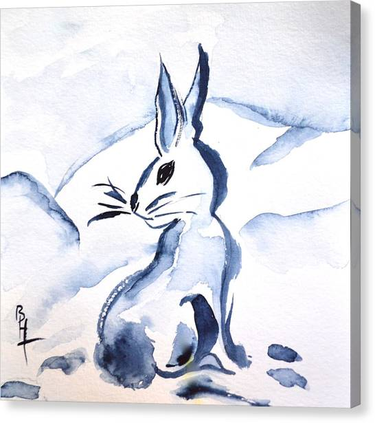 Sumi-e Snow Bunny Canvas Print