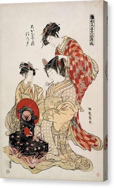 Lacquer Canvas Print - Suminoto Of Okanaya, From The Series by Isoda Koryusai