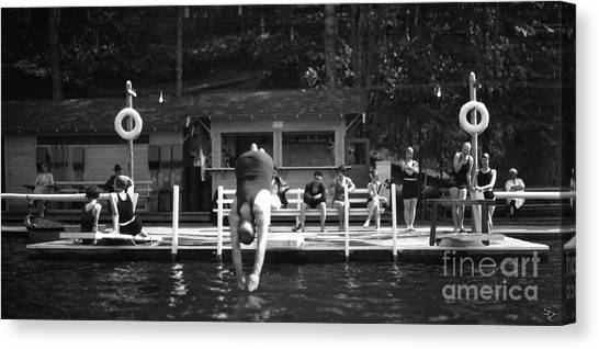 Canvas Print featuring the photograph Summer At The Lake 1928 by Vibert Jeffers