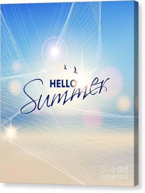 Sun Canvas Print - Summer Beach-vector Background by Alessandram