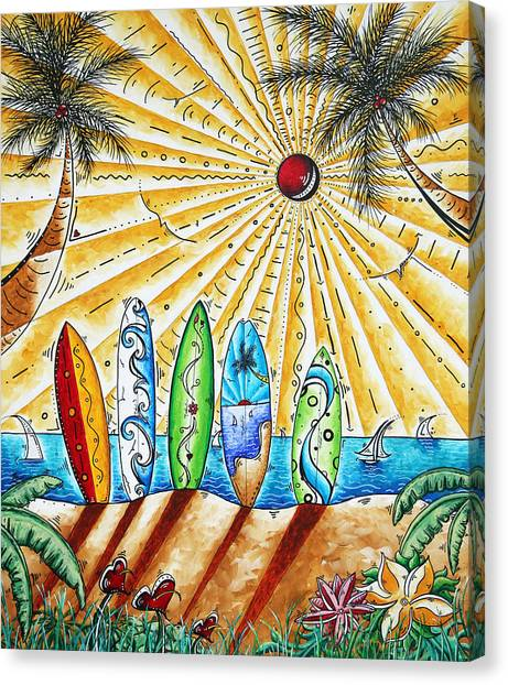 Surfboard Canvas Print - Summer Break By Madart by Megan Duncanson